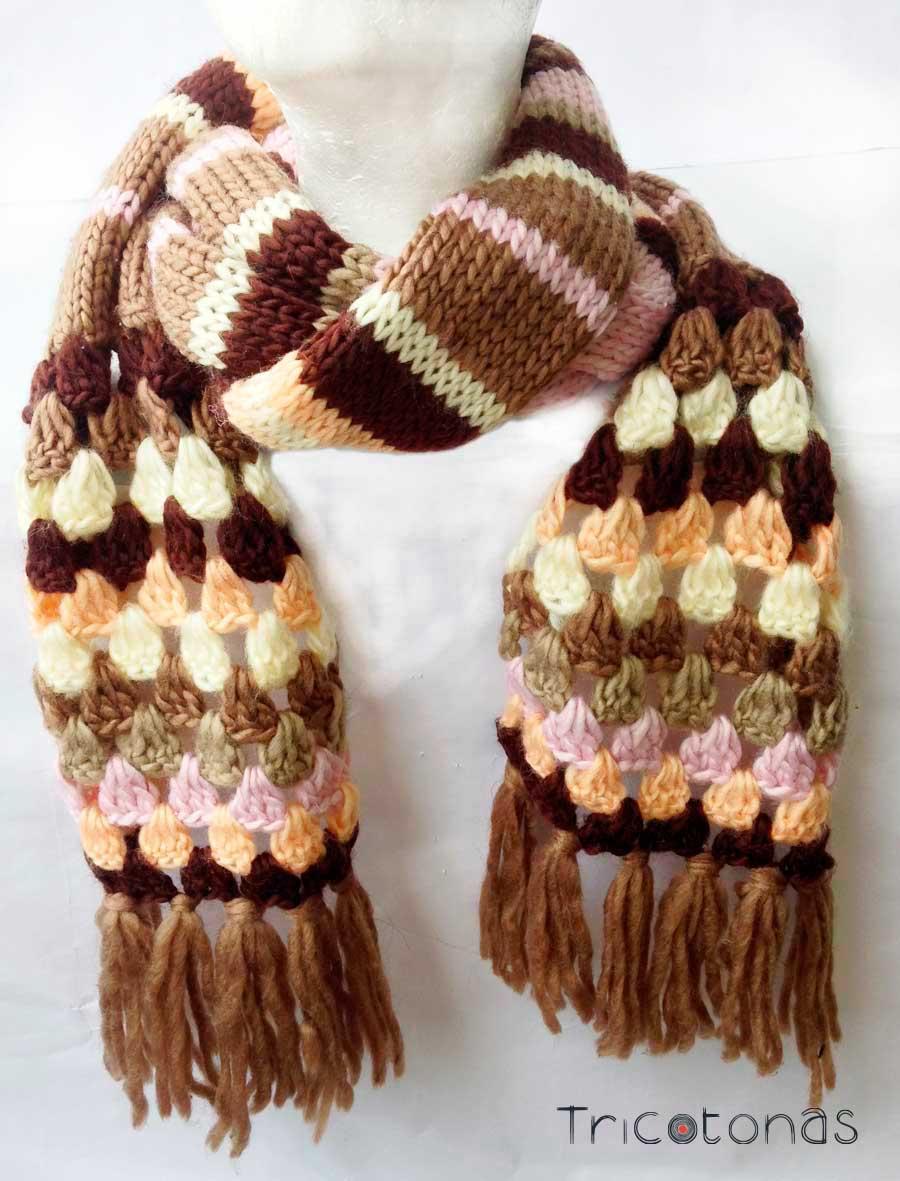 Bufandas personalizadas tricotonas - Puntos de dos colores a dos agujas ...